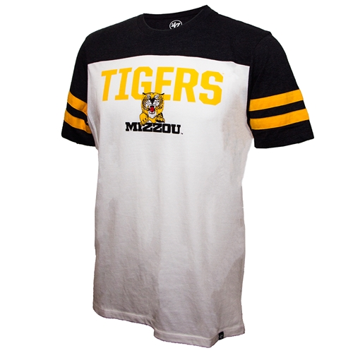 Mizzou Tigers Retro Tiger Striped Sleeve White T- Shirt
