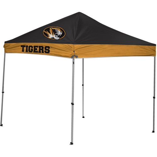 Mizzou Tiger Head Straight Sided Black and Gold Tailgating Tent