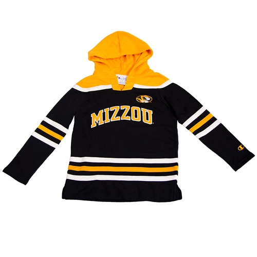 Mizzou Kids' Oval Tiger Head Black and Gold Hockey Jersey
