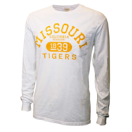 Missouri Tigers Columbia 1839 White Pocket Crew Neck Shirt