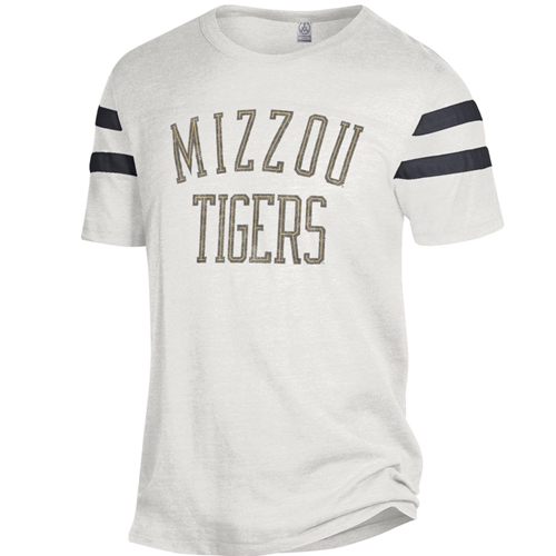 Mizzou Tigers Striped Sleeve White T- Shirt