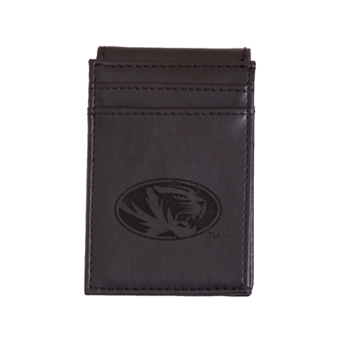 Mizzou Lazer Engraved Oval Tiger Head Front Pocket Wallet