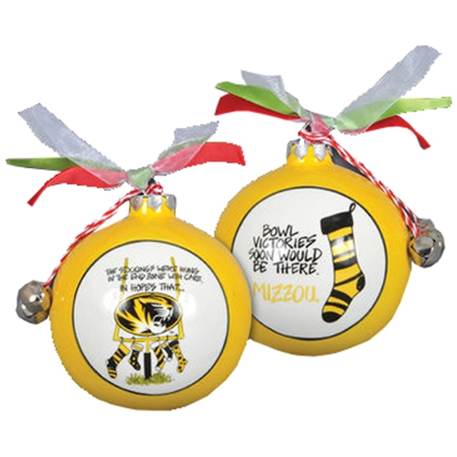 Mizzou Oval Tiger Head Stockings Gold Ornament