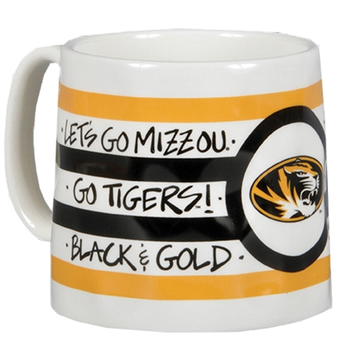 Mizzou Oval Tiger Head Black and Gold Striped Mug