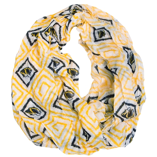 Mizzou Tiger Head Black and Gold Square Infinity Scarf