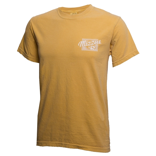 Mizzou Greetings from CoMo Postcard Gold Comfort Colors T-Shirt
