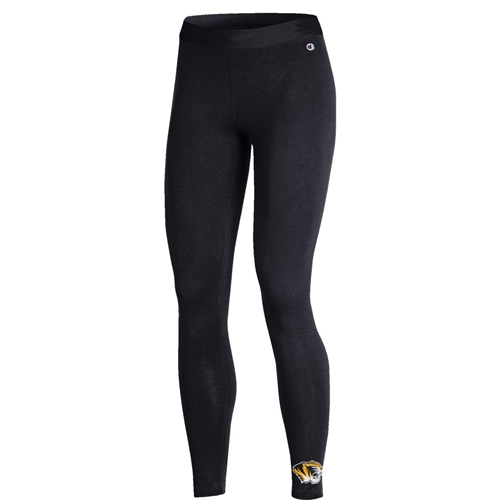 Mizzou Tiger Head Champion Junior's Black Leggings