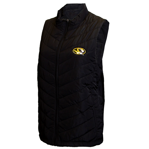 Mizzou Oval Tiger Head Women's Black Puffer Vest