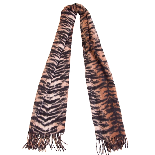 Tiger Print Black and Gold Fringed Scarf