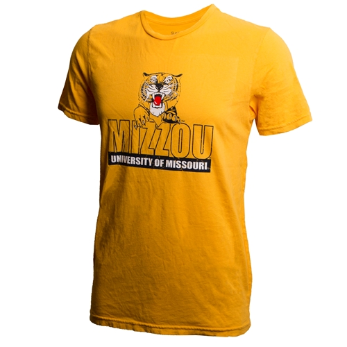 Mizzou University of Missouri Retro Pouncing Tiger Gold T-Shirt