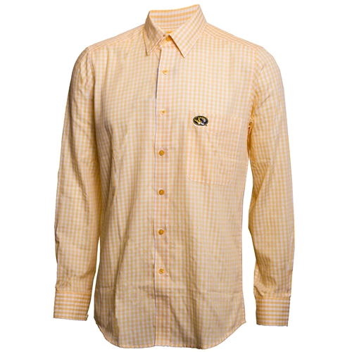 Mizzou Oval Tiger Head Gold and White Checkered Button Down Dress Shirt