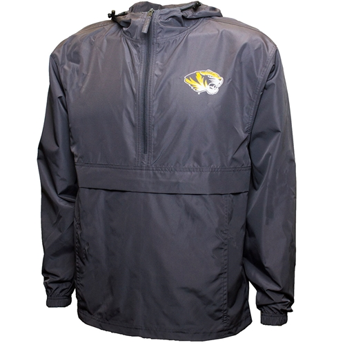Mizzou Tiger Head Grey 1/2 Zip Hooded Packable Rainbreaker