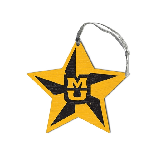 Mizzou Tiger Head Vintage Star Wooden Ornament