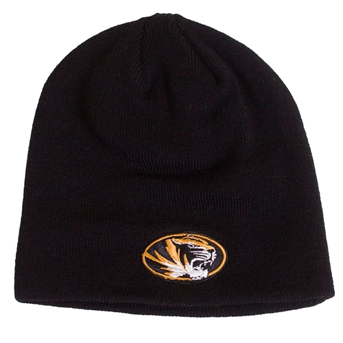 Mizzou Oval Tiger Head Black Beanie