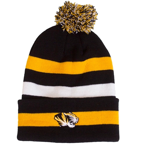Mizzou Tiger Head Black and Gold Stripe Pom Cuffed Beanie