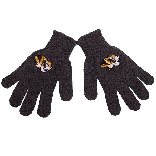Mizzou Tiger Head Grey Youth Gloves