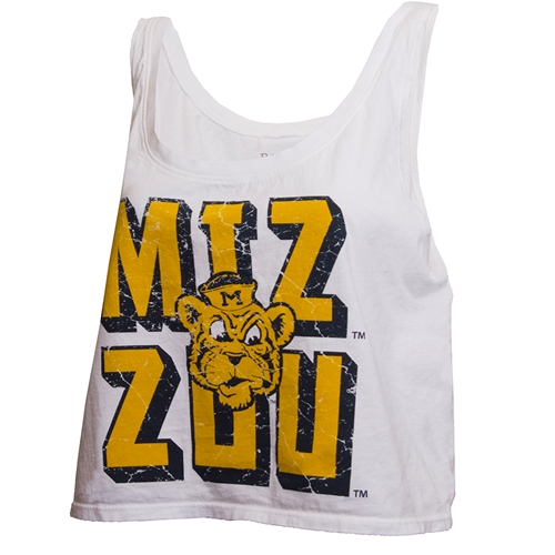 Mizzou Stacked Beanie Tiger Head Cropped White Tank Top