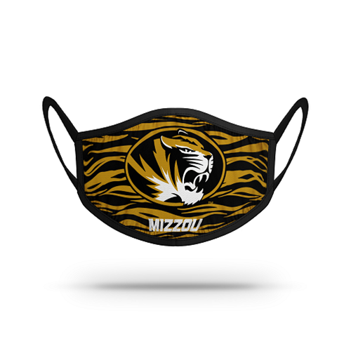 Mizzou Face Covering Black and Gold Tiger Head and Tiger Stripe