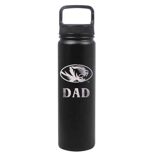 Mizzou Oval Tiger Head Dad Black Water Bottle