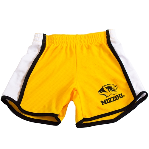Mizzou Tiger Head Gold Toddler Track Shorts