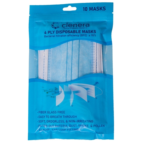 10 Count 4-Ply Disposable Masks