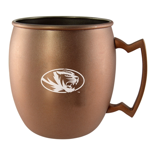 Mizzou Oval Tiger Head Copper Mug