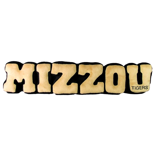 Mizzou Plush Letters Black and Gold Pillow