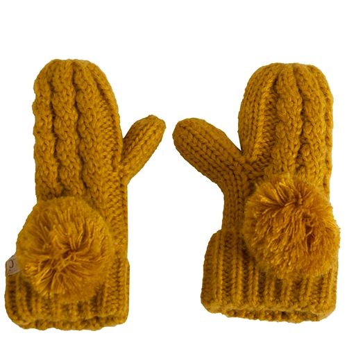 C.C. Kids Gold Lined Pom Knit Mittens