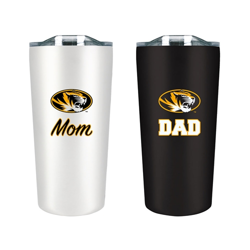 Mizzou Oval Tiger Head Soft Touch Mom & Dad Tumbler Set