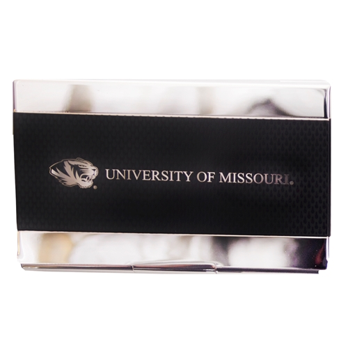 University of Missouri Carbon Fiber Black Business Card Holder