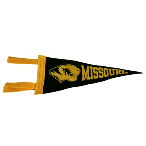 Missouri Tiger Head Black & Gold Mini Pennant