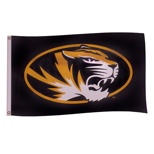 Mizzou Oval Tiger Head Black & Gold Flag