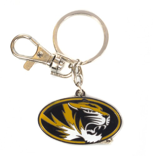Mizzou Oval Tiger Head Gold Keychain