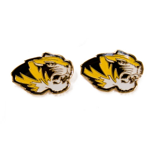 Mizzou Tiger Head Stud Earrings