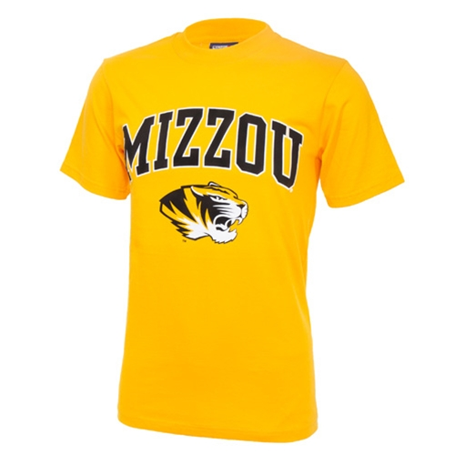 Mizzou Tiger Head Gold Crew Neck T-Shirt